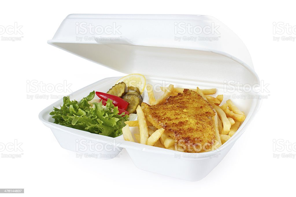 Fish and chips portion royalty-free stock photo