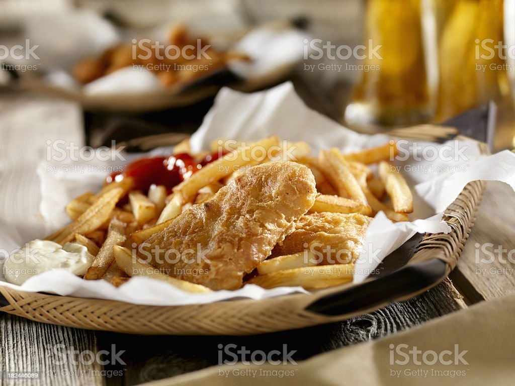 Fish and Chips with a Beer stock photo