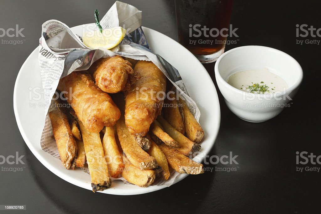 Fish and Chips with Beer royalty-free stock photo