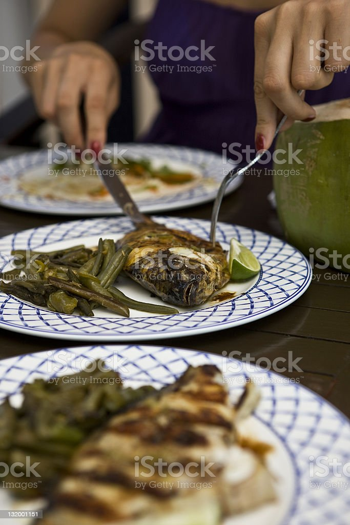 Fish and green beans royalty-free stock photo