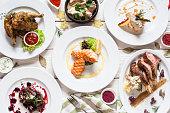 魚や肉料理各種フラット レイアウト