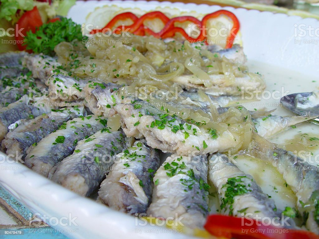 Fisch und Zwiebeln Lizenzfreies stock-foto