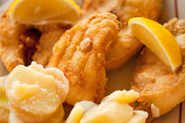 Fish and potato salad Fish and potato salad perch fish stock pictures, royalty-free photos & images