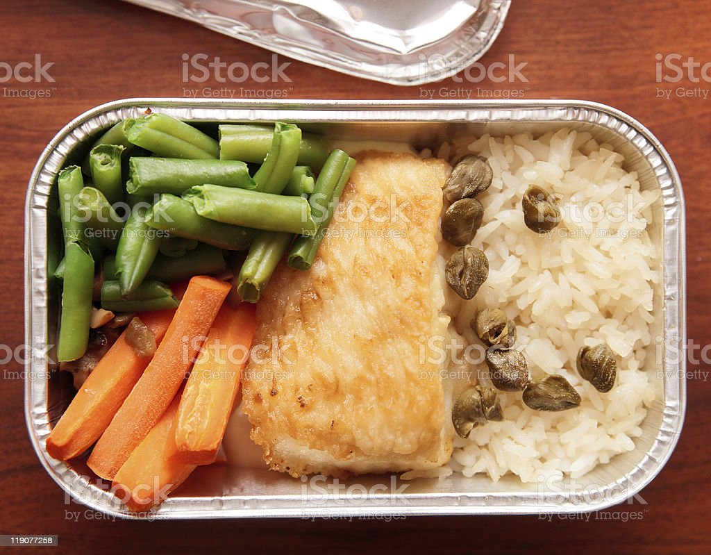 Fish and rice - inflight meal stock photo