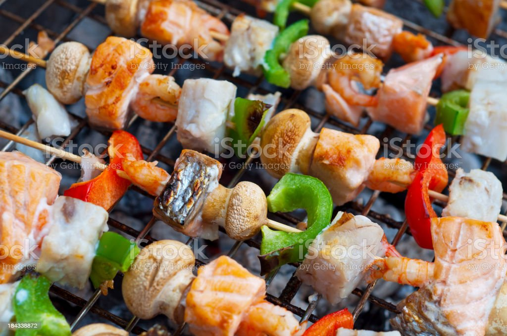 Fish and shrimp skewer barbecue royalty-free stock photo