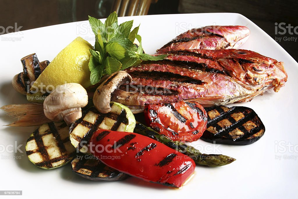 Fish and vegetable royalty-free stock photo