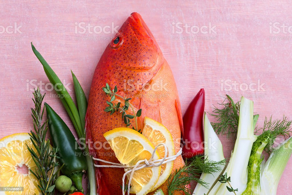 fish and vegetables composition royalty-free stock photo