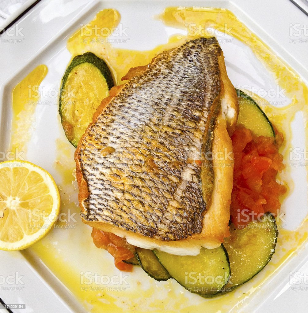 Fish and Vegetables on a plate royalty-free stock photo