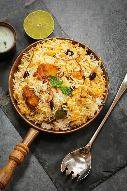 Fish Biryani with basmati rice Indian food stock photo