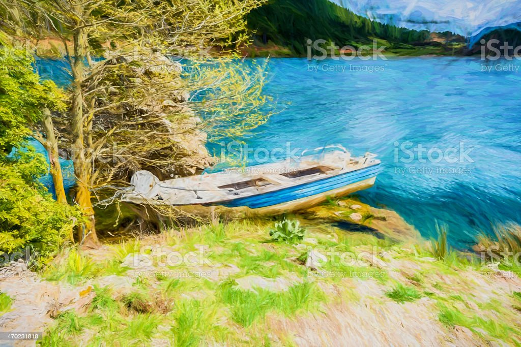 Fish Boat at Blue Lake in the mountains - Painting stock photo