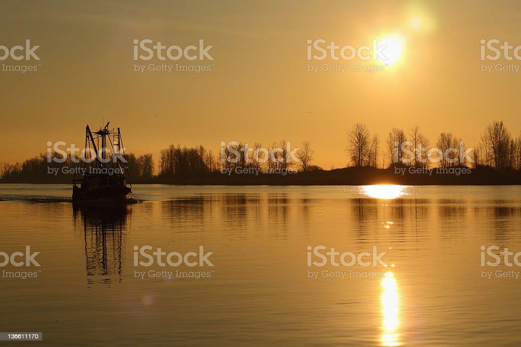 Fish Boat Motoring, Fraser River stock photo