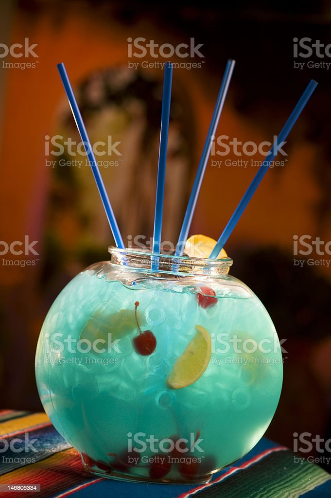 Fish Bowl Blue Cocktail royalty-free stock photo