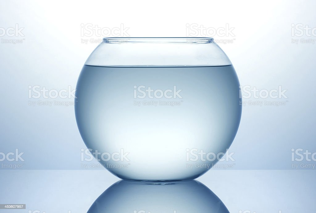 A fish bowl filled with water but no fish stock photo