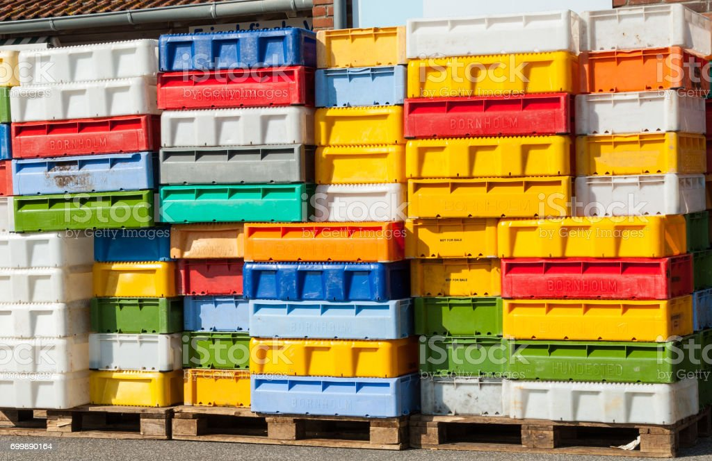 Fish boxes stock photo