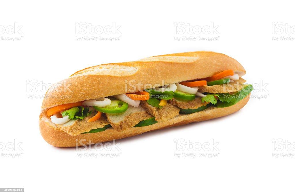 Fish cake vietnamese banh mi sandwich stock photo