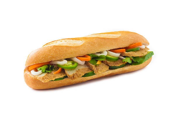 Fish cake vietnamese banh mi sandwich Fish cake vietnamese banh mi sandwich bánh mì sandwich stock pictures, royalty-free photos & images