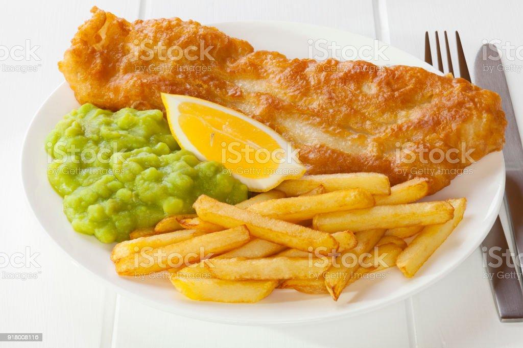 Fish Chips and Mushy Peas stock photo