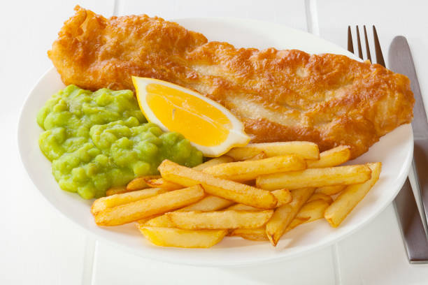 Fish Chips and Mushy Peas stock photo
