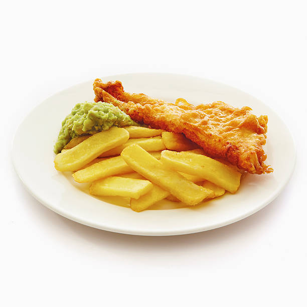 Fish, Chips & mushy peas stock photo