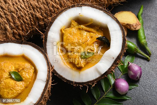 istock Fish cooked in spicy coconut sauce most popular barracuda fish curry food in Kerala India. 913987750