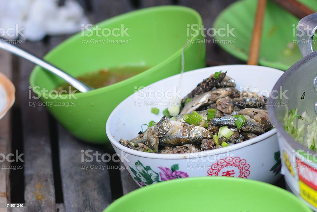 Fish cooked with fish sauce stock photo