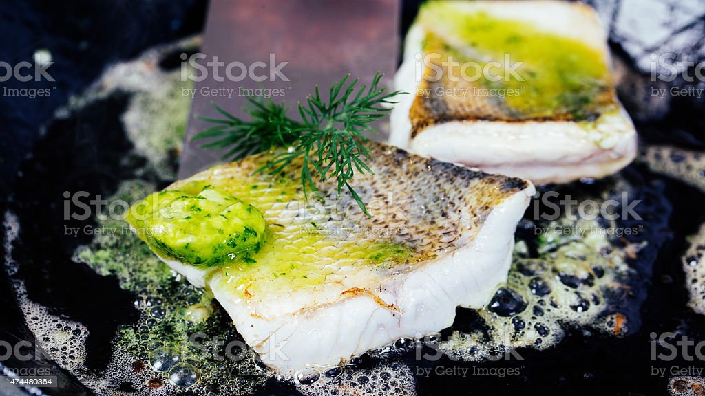 Fish cooking stock photo