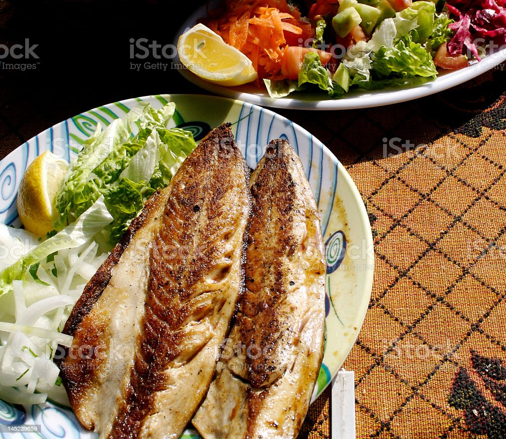 fish dinner stock photo