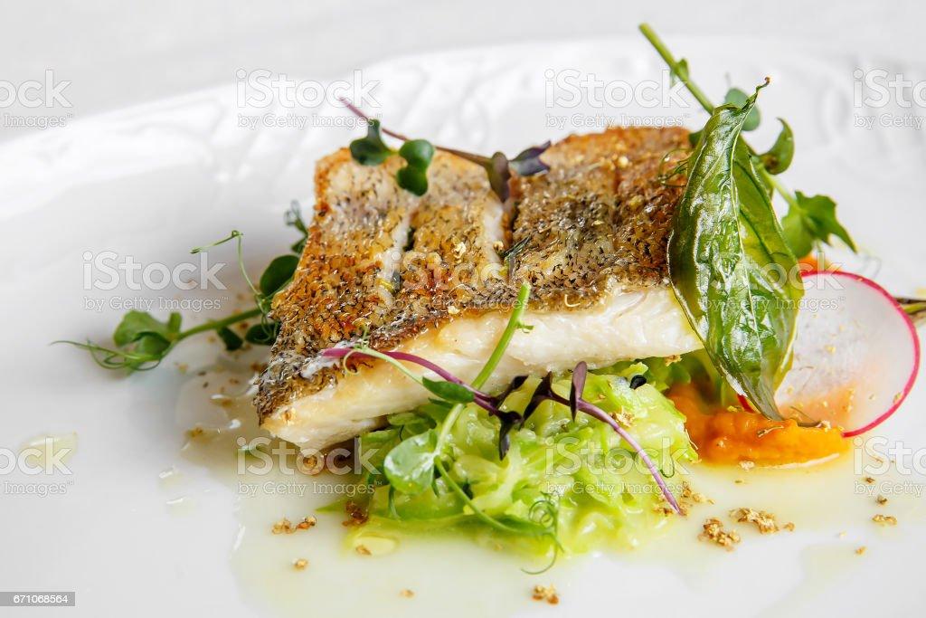 Fischgericht - Backfisch Filet vom zander – Foto