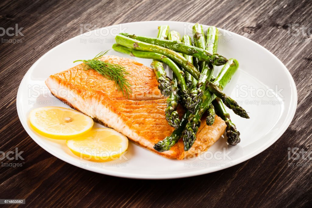 Fish dish - grilled salmon stock photo