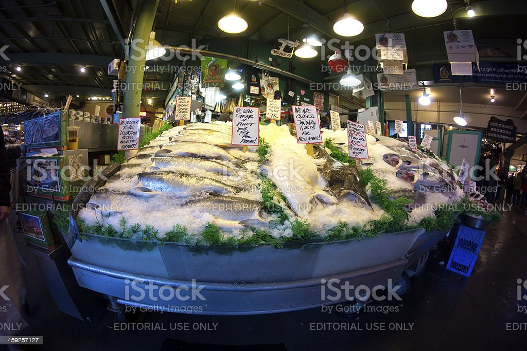 Fish Display at Pike Place Farmers Market in Seattle royalty-free stock photo