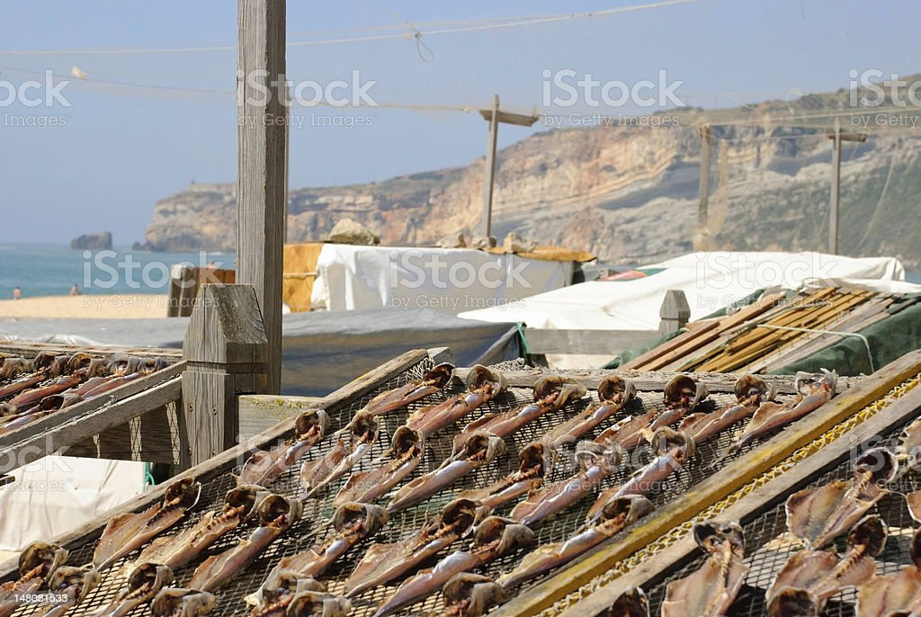 Fish drying outside stock photo