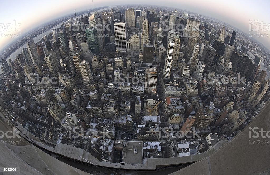 Fish Eye for the Manhattan royalty-free stock photo