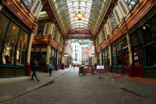 Fish Eye Leadenhall Market, London Fish Eye view within the Leadenhall Market, City of London. On a quiet morning. skeable stock pictures, royalty-free photos & images