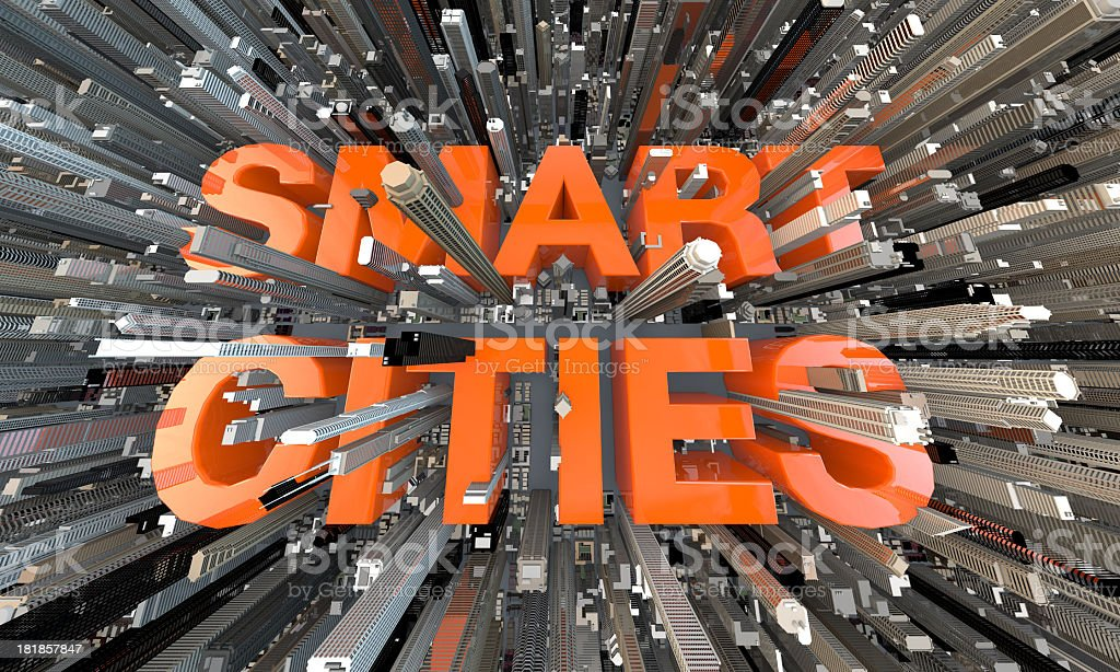 3D Fish eye text Smart Cities in between Skyscrapers stock photo