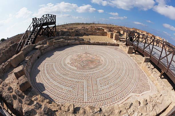 fish eye view Ausgrabungsstätte Etage Mosaiken Paphos Ruinen von Zypern – Foto