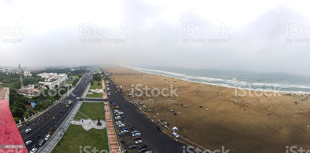 A fish eye view of marina beach on a cloudy day stock photo