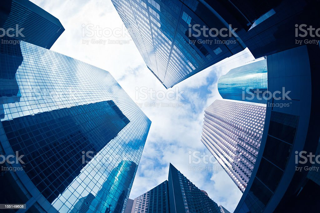 Fish eye view of the skyscrapers in the Financial district royalty-free stock photo