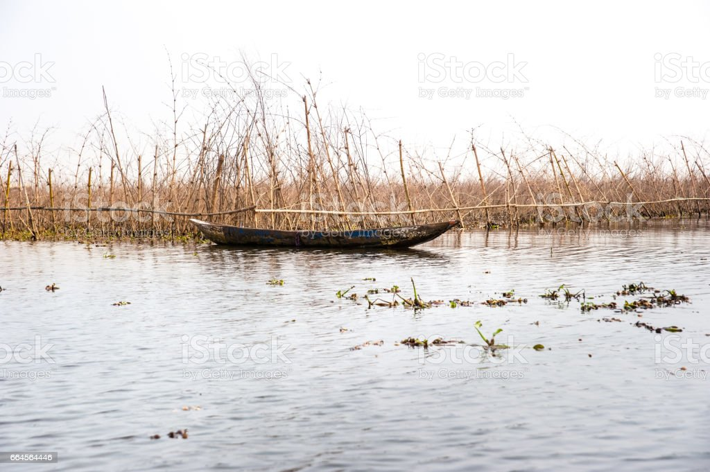 Fish farm at Lake Nokoue, Benin stock photo