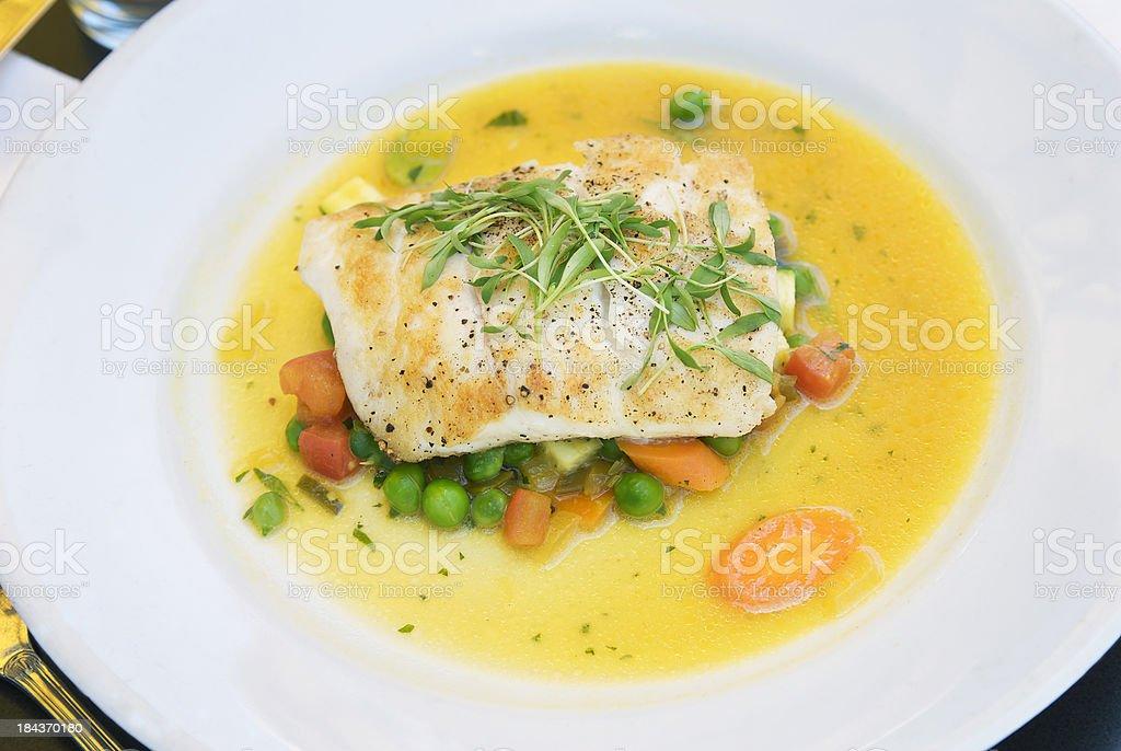 Fish Fillet Dinner, Whitefish & Fresh Vegetables royalty-free stock photo
