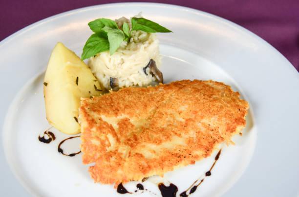 Fish fillet gourmet dish stock photo