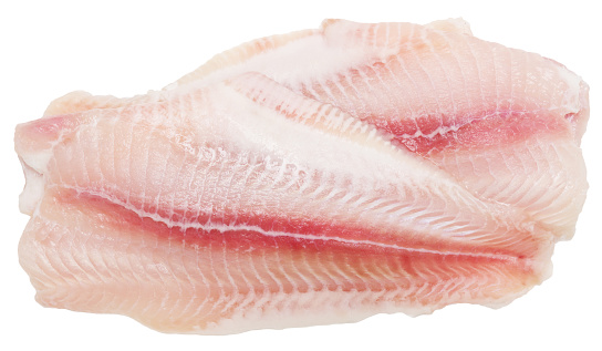 Fresh fish fillet isolated on white background