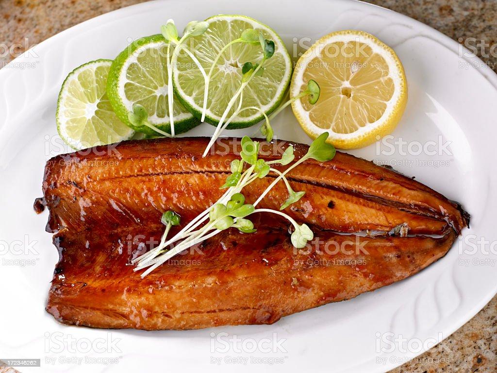 Fish Fillet with Teriyaki Sauce. stock photo