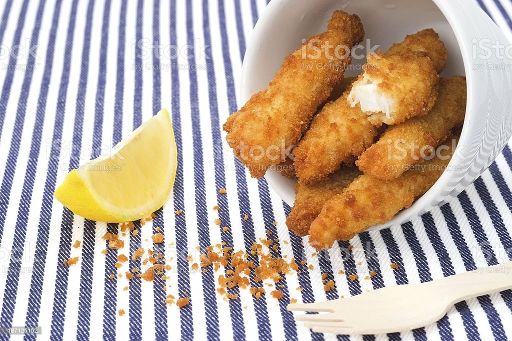 Fish finger sticks stock photo