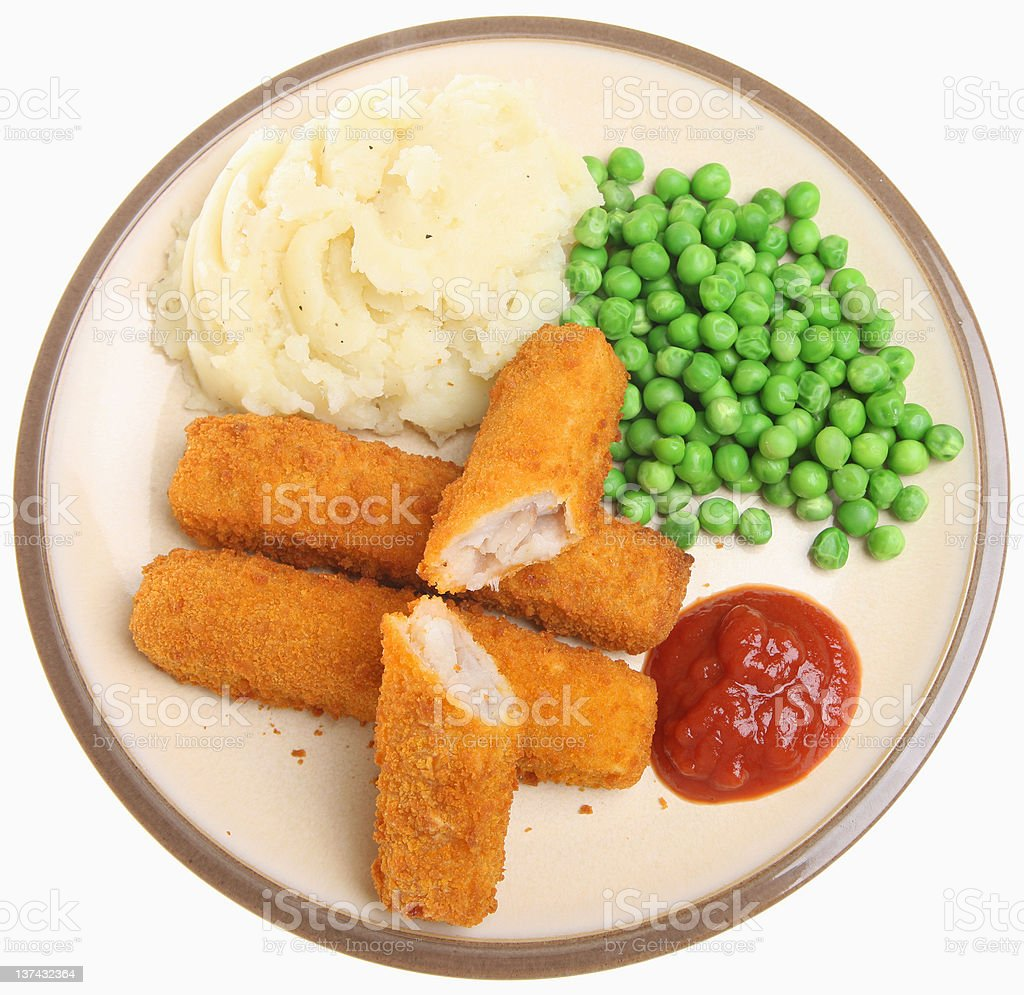 Fish Fingers Meal stock photo