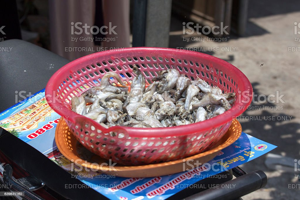 Fish for sale in the market of Siem Reap stock photo