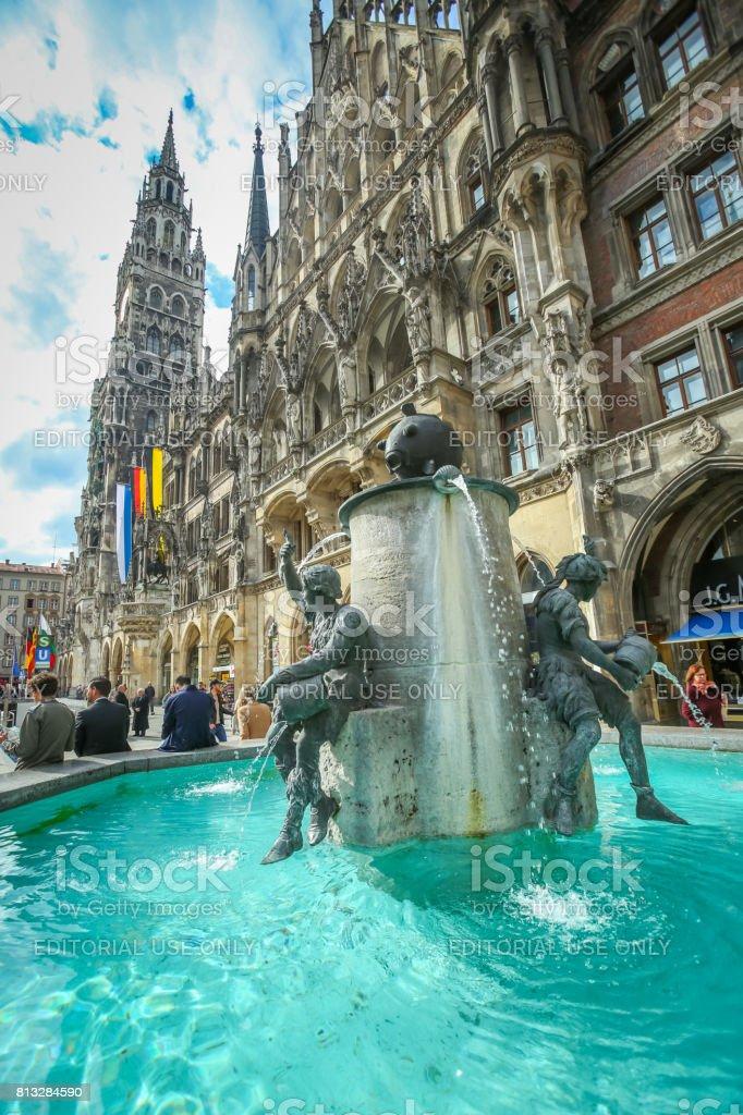 Fish Fountain at Marienplatz stock photo