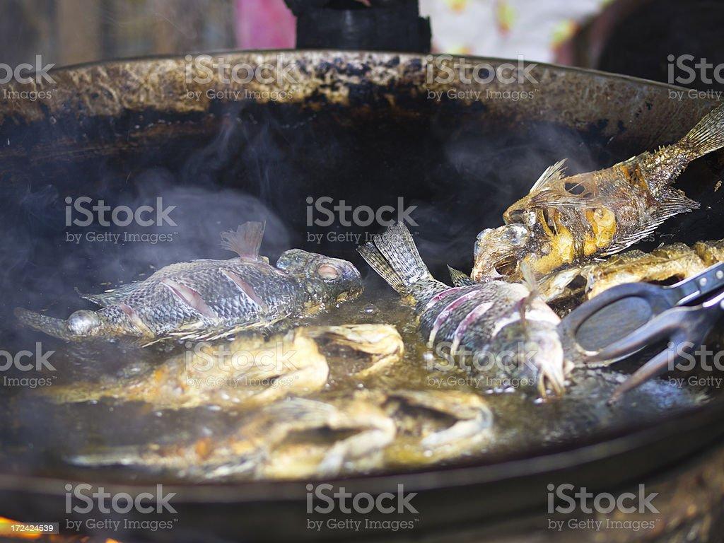 Fish frying stock photo