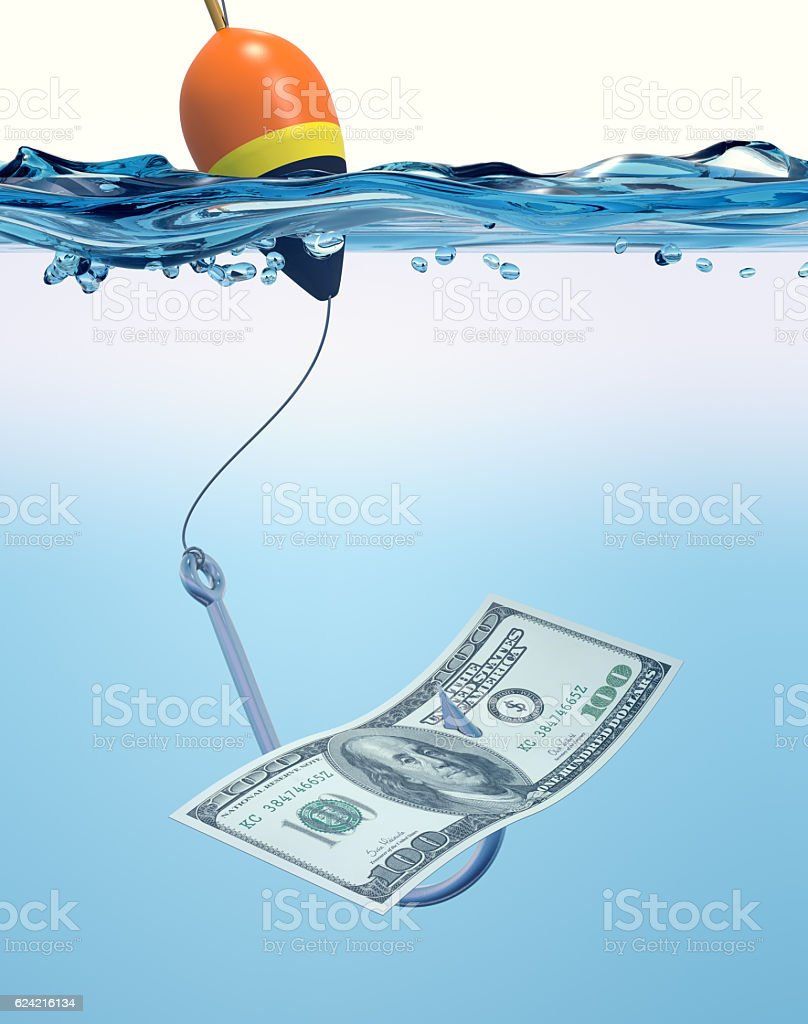 fish hook with a banknote stock photo