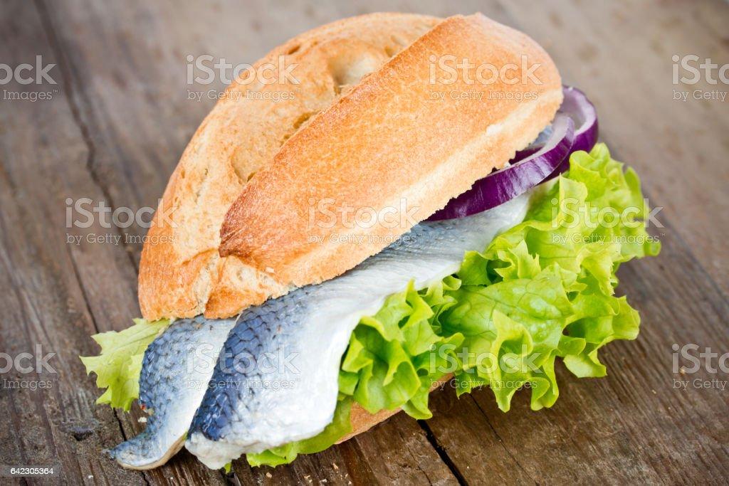 fish in a bun stock photo