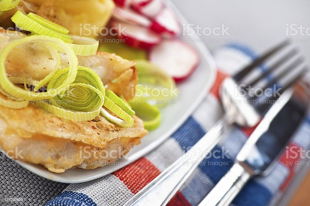 Fish in batter royalty-free stock photo